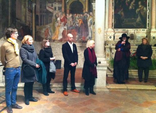 Da sinistra, Villu Plink, Piret Hirv, Eve Margus-Villems, Tanel Veenre, Kristiina Laurits, Kadri Mälk e Mirella Cisotto Nalon
