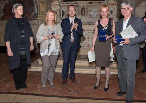 Da sinistra: Luisa Bazzanella (giuria), Mirella Cisotto, Flavio Rodeghiero (assessore alla Cultura e Turismo di Padova), Margit Hart, Piergiuliano Reveane